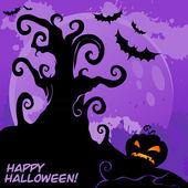 Szczęśliwa karta creepy halloween — Wektor stockowy