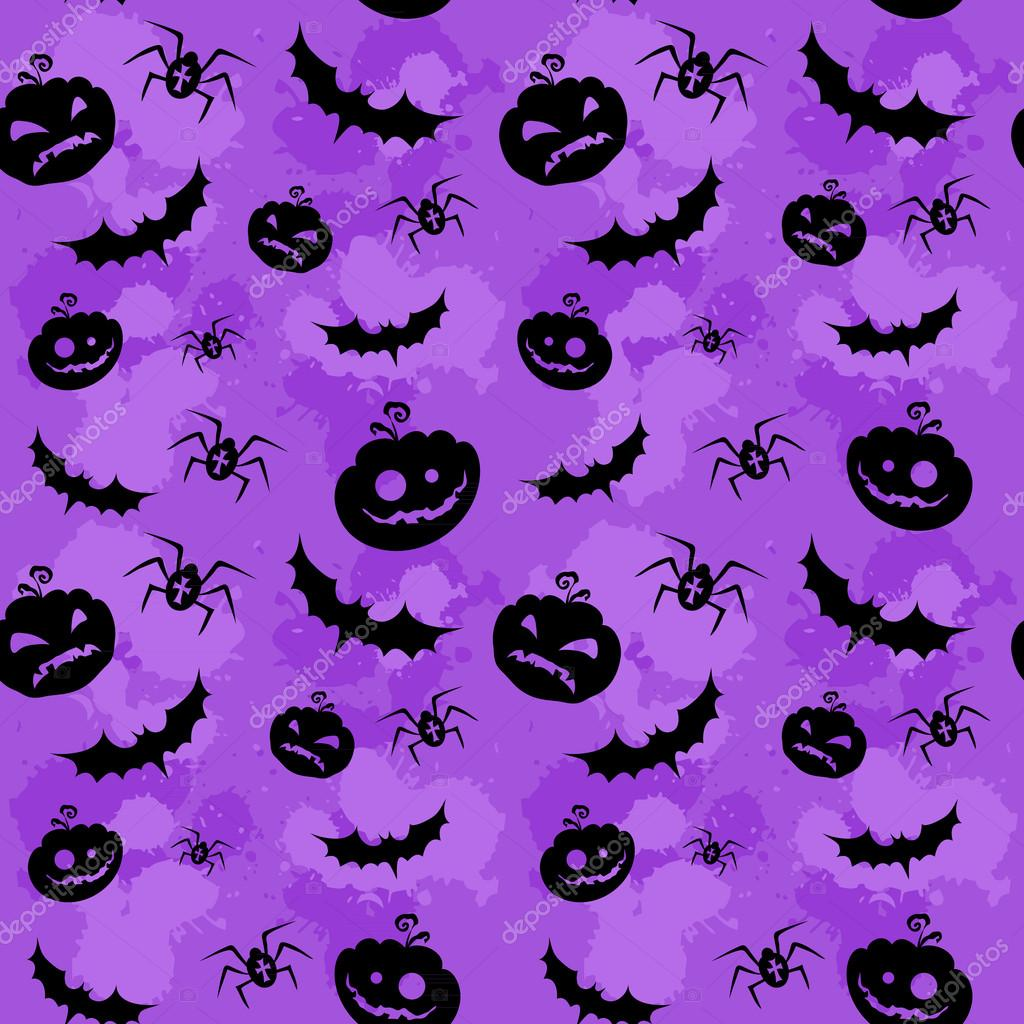 Halloween pumpkins, bats and spiders grungy seamless background  Stock Vector #12815098