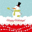 Ornate Christmas card with snowman and decorative lace — Stock vektor