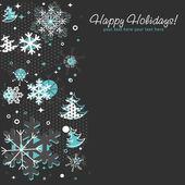Utsmyckade julkort med snöflingor, xmas granar och stjärnor — Stockvektor