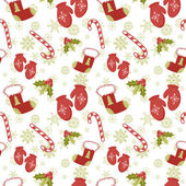 Seamless pattern with Christmas mittens and red stocking — Stock Vector