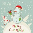Royalty-Free Stock Imagen vectorial: Merry Christmas greeting card with cute Snowman