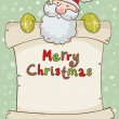 Christmas card with cute Santa and scroll — Stock Vector