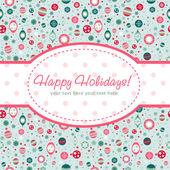 Decorative Christmas postcard on seamless background — Stock Vector