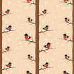Winter bullfinch bird seamless pattern — Stock Vector #14616475