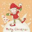 Christmas card with little elf Santa helper - Stock Vector
