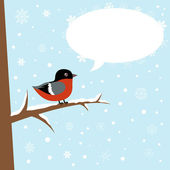 Cute winter bullfinch bird on a branch — Stock Vector