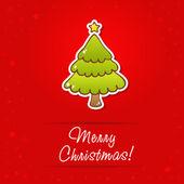 Beautiful Christmas greeting card with cartoon tree — Stock Vector
