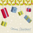 A set of colorful gift boxes christmas card — Stockvectorbeeld