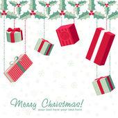 Un conjunto de cajas regalo colorido crismas — Vector de stock