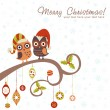 Christmas card of owls in hats sitting on a tree branch - Stock Vector