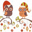 Christmas card of owls in hats sitting on a tree branch — Stock Vector #14962379