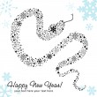 Stylized chinese New Year card of Snake made of snowflakes — Stock Vector