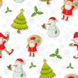 Christmas cartoon characters seamless pattern — Stok Vektör