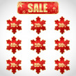 Christmas sale stickers and tags with discounts — Imagen vectorial