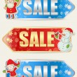 Christmas sale stickers with Xmas characters — Stock Vector