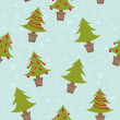 Stock Vector: Seamless pattern with christmas trees