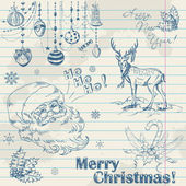 Hand drawn vintage Christmas elements — Stock Vector