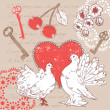 Royalty-Free Stock Vector Image: Valentine romantic retro postcard with hearts and doves