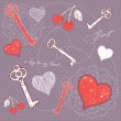 Valentine romantic love card with key to heart — Stock Vector #17819899
