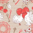 Valentine romantic retro seamless pattern with hearts and doves — Stock Vector