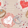 Valentine romantic retro seamless pattern with wedding rings and hearts — Imagen vectorial