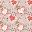 Stock Vector: Valentine romantic retro seamless pattern with wedding rings and hearts