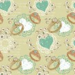 Valentine romantic retro seamless pattern with wedding rings and hearts — 图库矢量图片