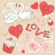 Valentine romantic retro postcard with hearts and swans — Vettoriali Stock