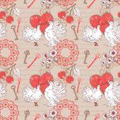 Valentine romantic retro seamless pattern with hearts and doves — Stock vektor