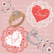 Valentine romantic retro postcard with rings — Stockvectorbeeld