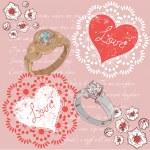 Valentine romantic retro postcard with rings — Stock Vector
