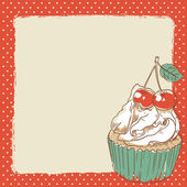 Lovely postcard with delicious sweet cupcake — 图库矢量图片