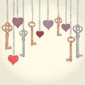 Valentine invitation card with keys and hearts — Stockvektor