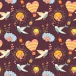 Bright cartoon romantic seamless pattern — Stock Vector #18633869