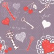 Valentine romantic love seamless pattern with key to heart — Stok Vektör