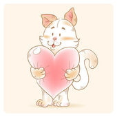 Cute love card with smiling toy cat holding heart — Stock vektor