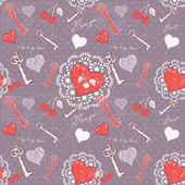Valentine romantic love seamless pattern with key to heart — Vettoriale Stock