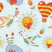 Bright cartoon romantic seamless pattern — Stock Vector