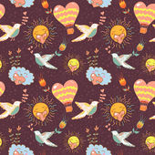 Bright cartoon romantic seamless pattern — Stockvector