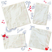 Scraps of paper isolated with hearts and hand drawn doodles — Vector de stock