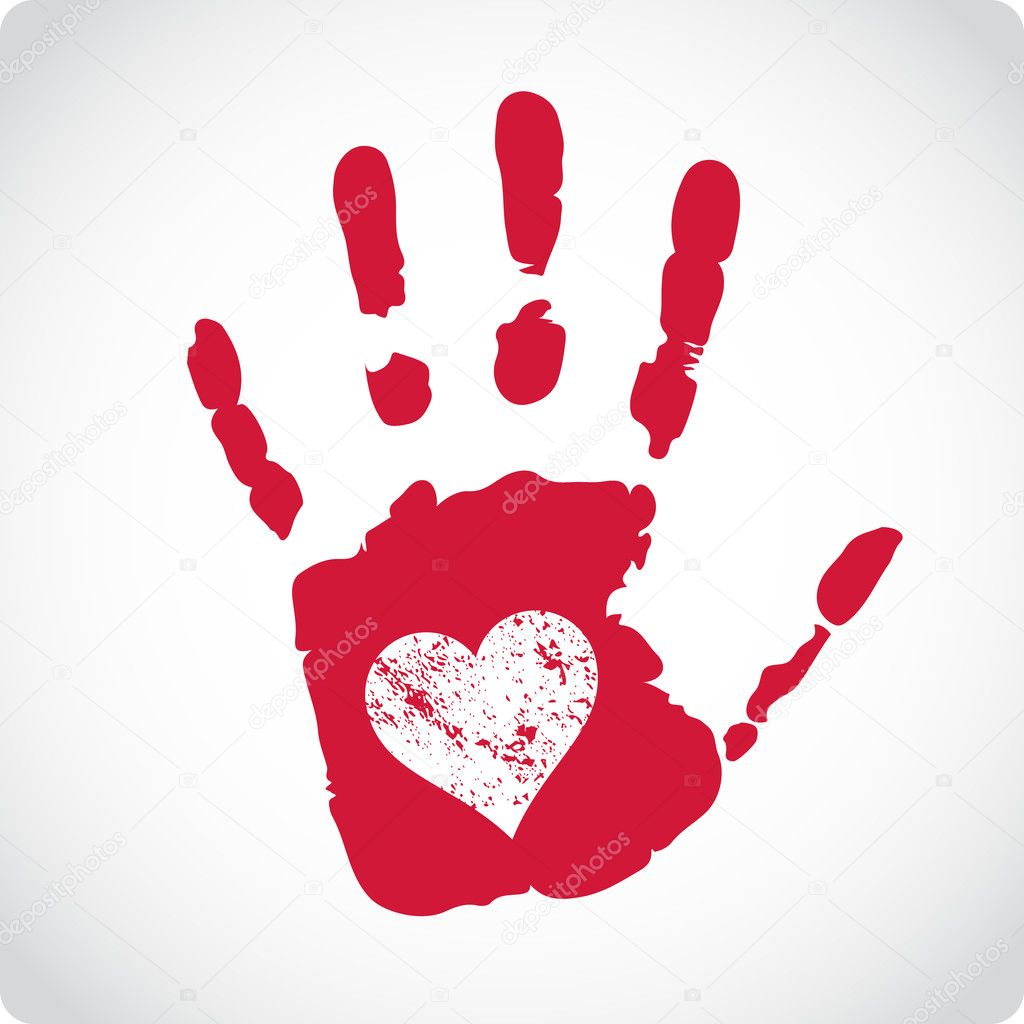 Romantic Valentine postcard with handprints and heart isolated  Stockvectorbeeld #18633857