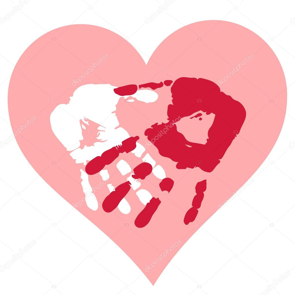 Romantic Valentine postcard with handprints and heart isolated — Stock Vector #18634451
