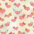 Valentine seamless pattern with smiling hearts — ベクター素材ストック