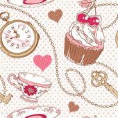 Romantic love vintage pattern — Stock Vector