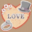 Valentine romantic retro card on polka dot background - 图库矢量图片