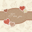 Stock Vector: Romantic vintage Valentine invitation postcard