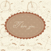 Romantic vintage Valentine invitation postcard — Stock Vector