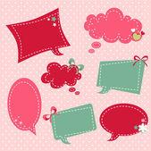Retro romantic love stickers and tags — Stock Vector