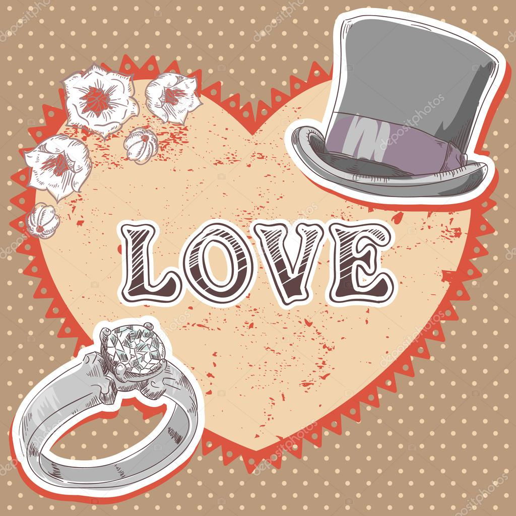 Valentine romantic retro card with top hat, wedding ring and flowers on polka dot background — Stock Vector #18965639